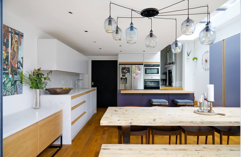 Purple toned kitchen
