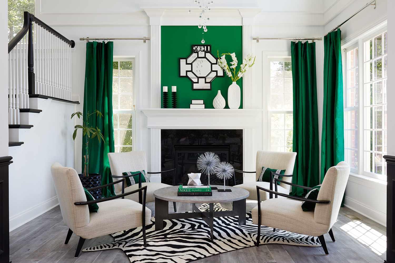 green, black, and white living room