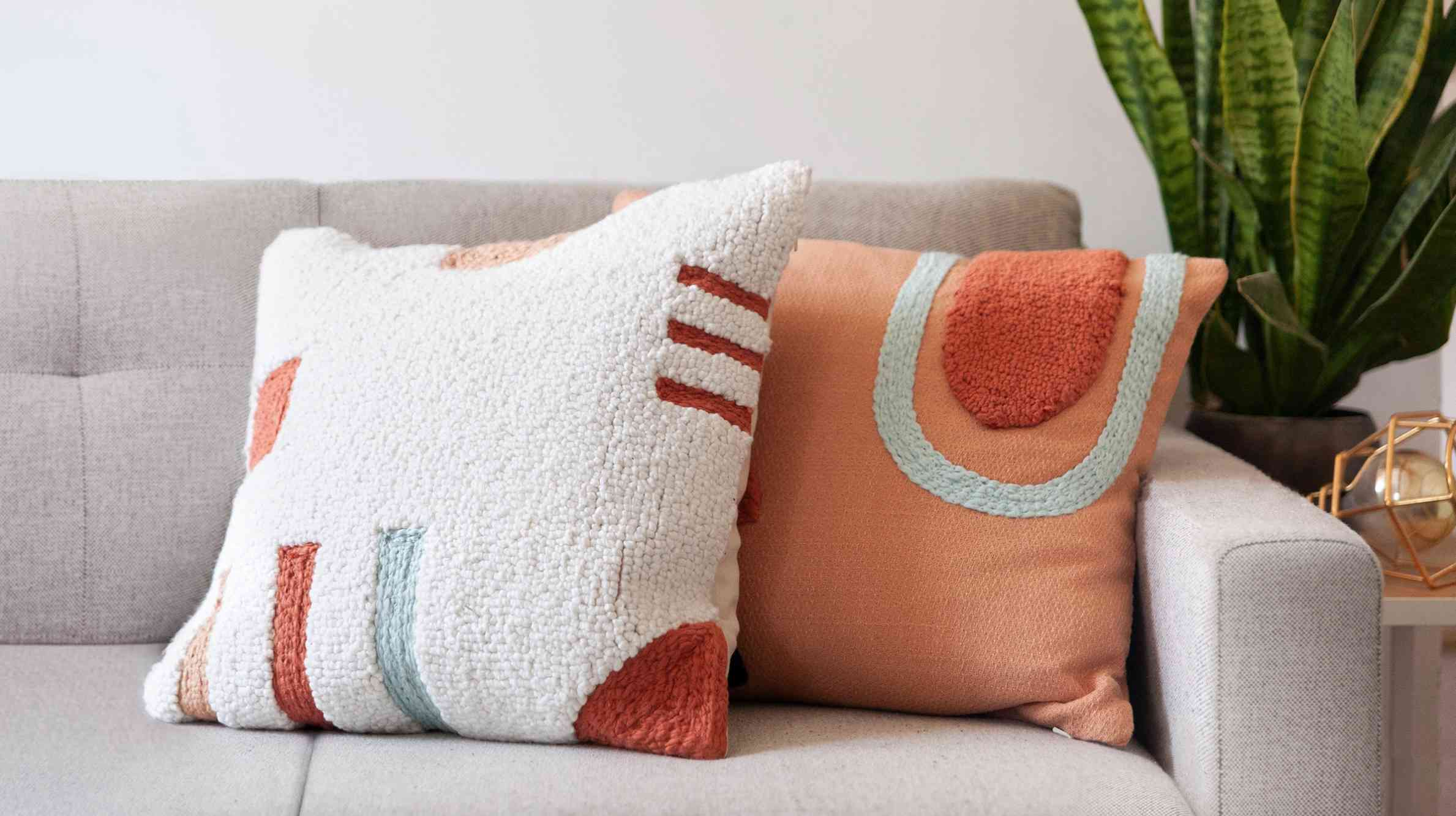 Embroidered Adobe Clay Pillow Cover