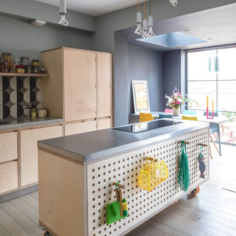 Kitchen island with pegboard