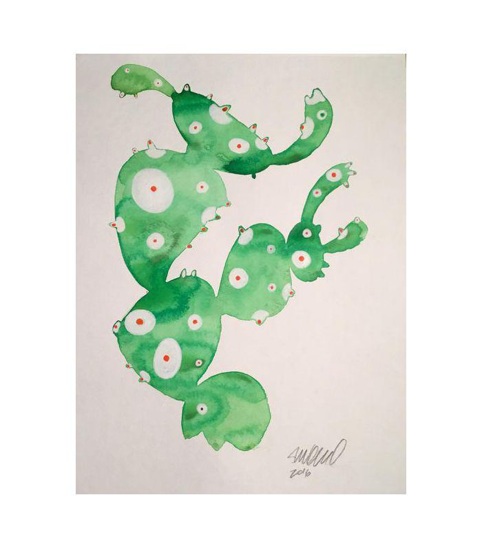 Steve Klinkel Contemporary Frog Cactus Watercolor Painting