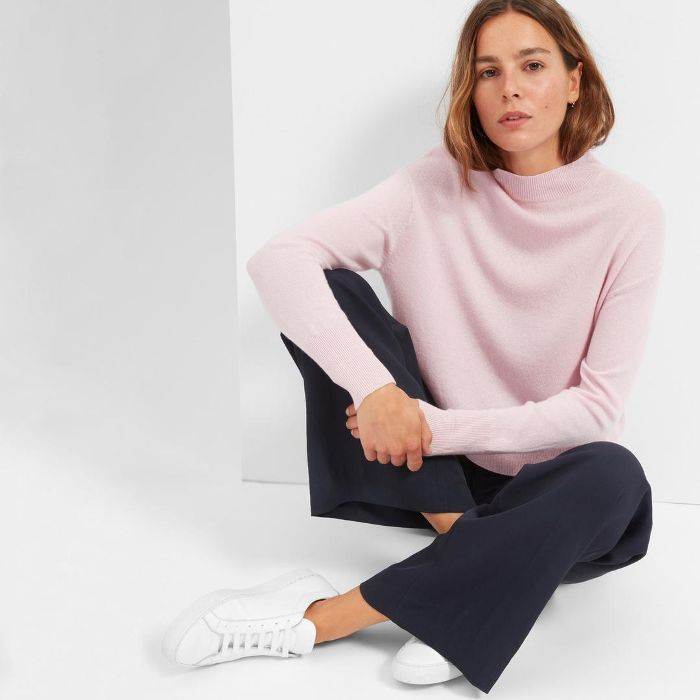 Women's Cashmere Crop Mockneck Sweater by Everlane in Soft Pink, Size XXS