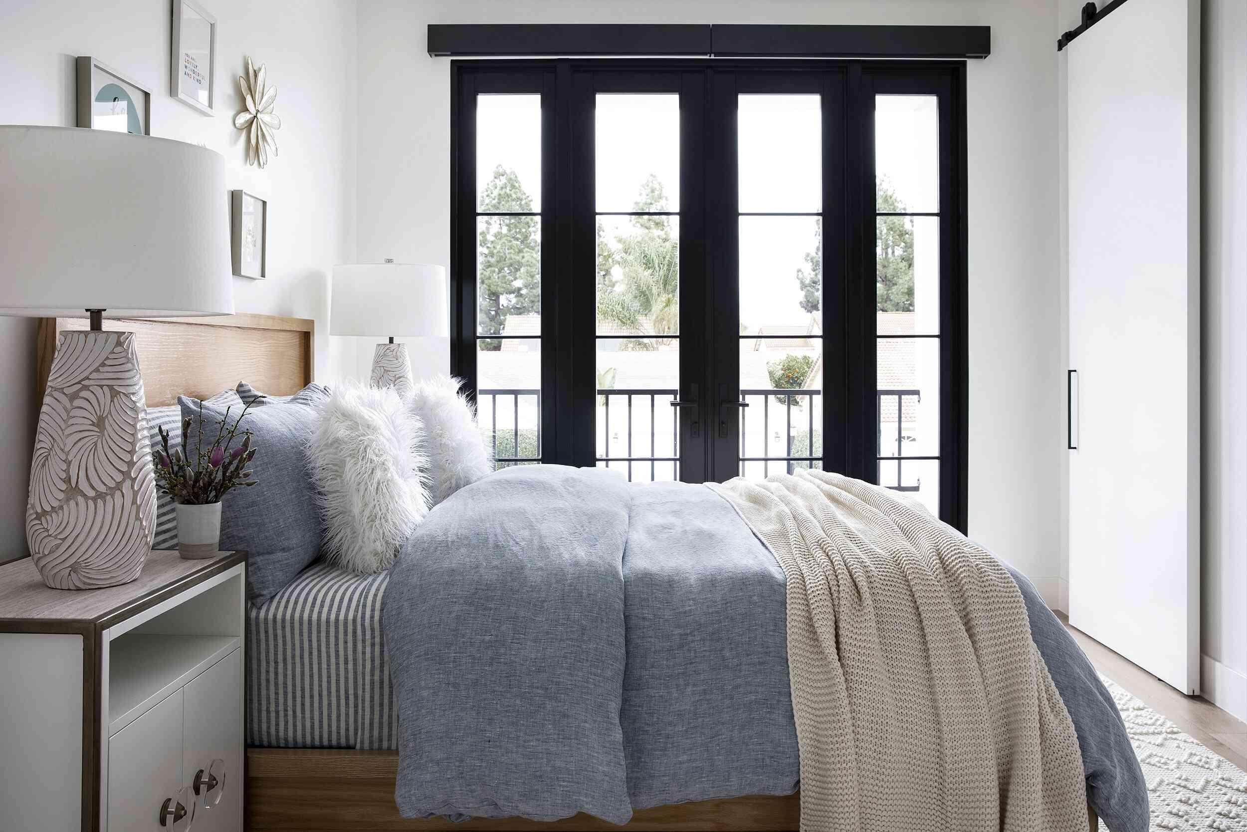Narrow apartment bedroom