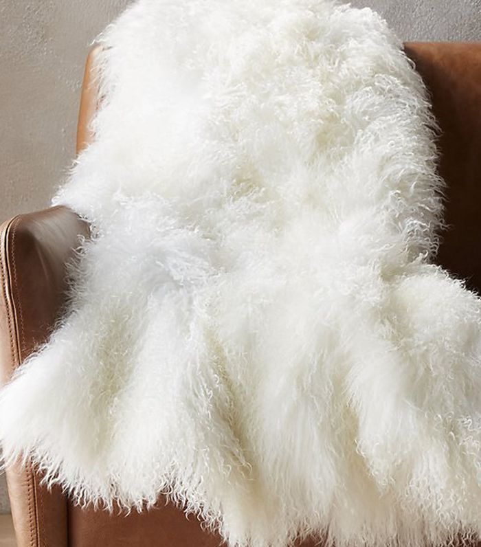CB2 Mongolian Sheepskin White Throw