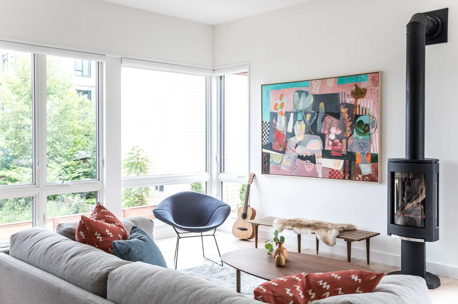 White and art filled living room