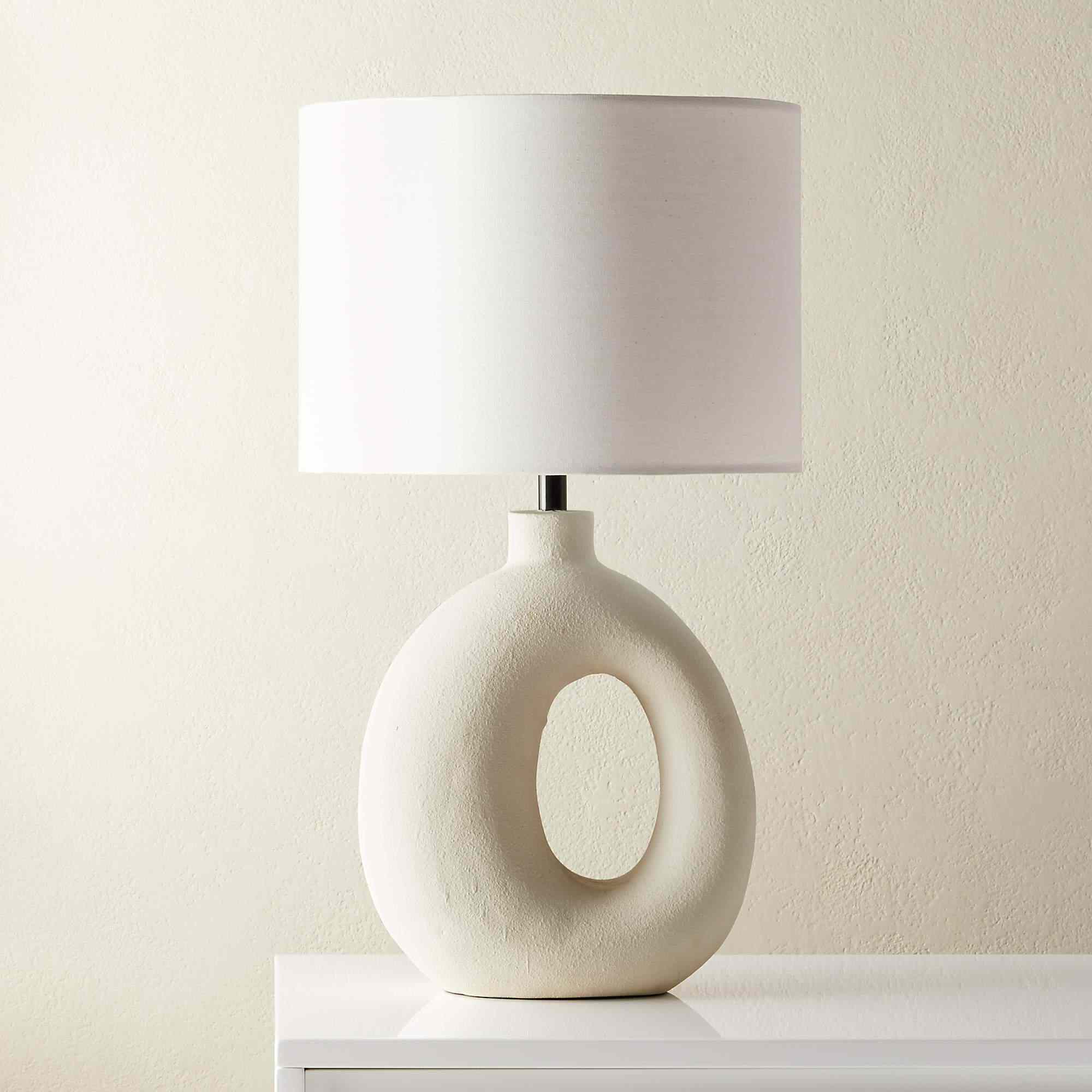 A geometric table lamp, currently for sale at CB2