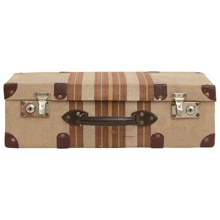 20th Century Tweed Suitcase with Leather Corners