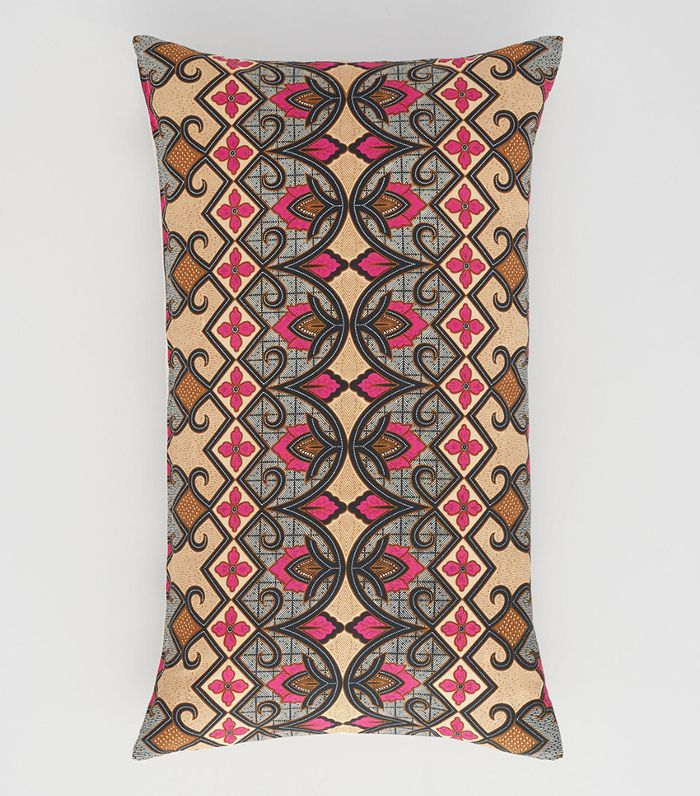 Oversized Warm Bali Tribal Print Lumbar Pillow: Pink/Multi - Cotton by World Market
