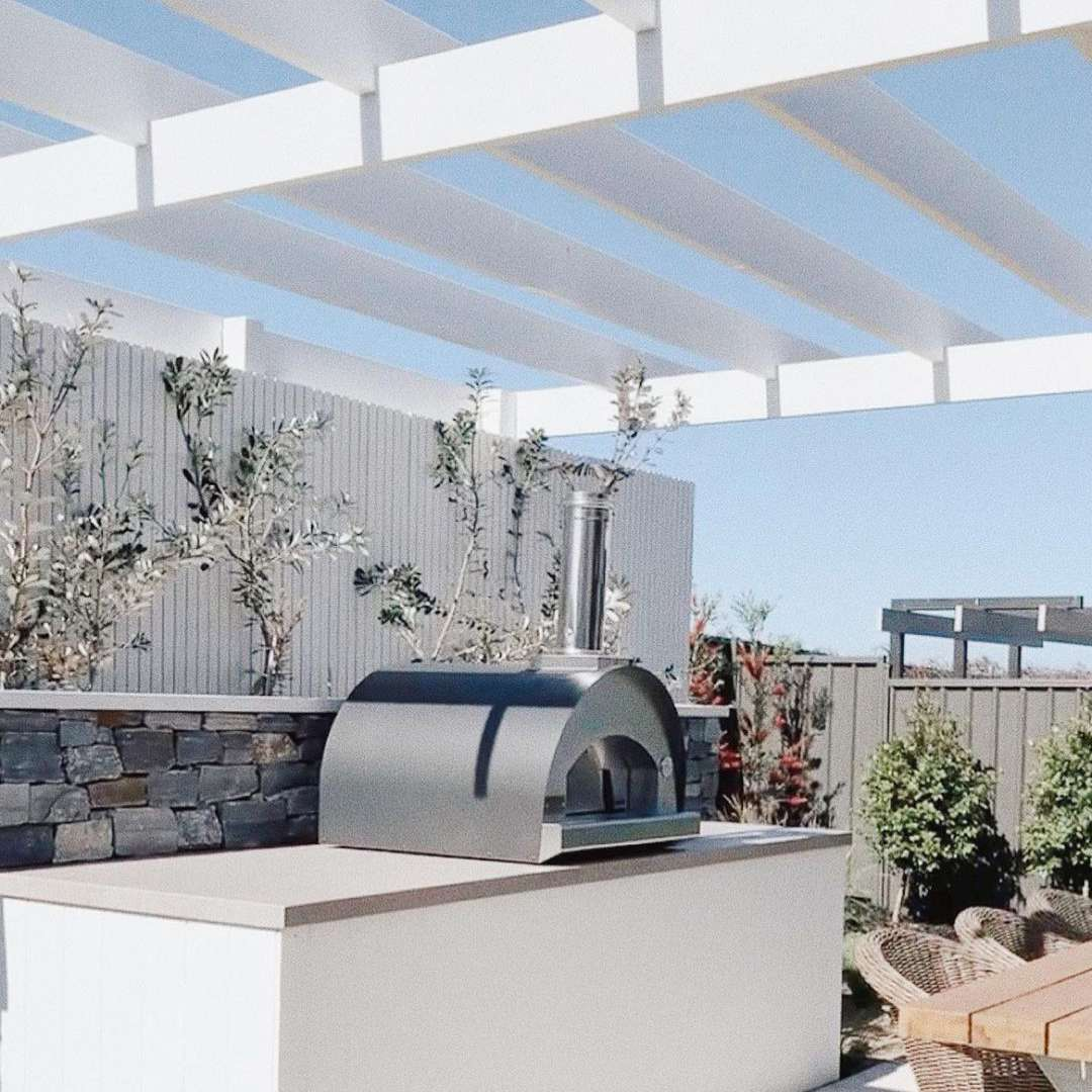 White and gray outdoor kitchen