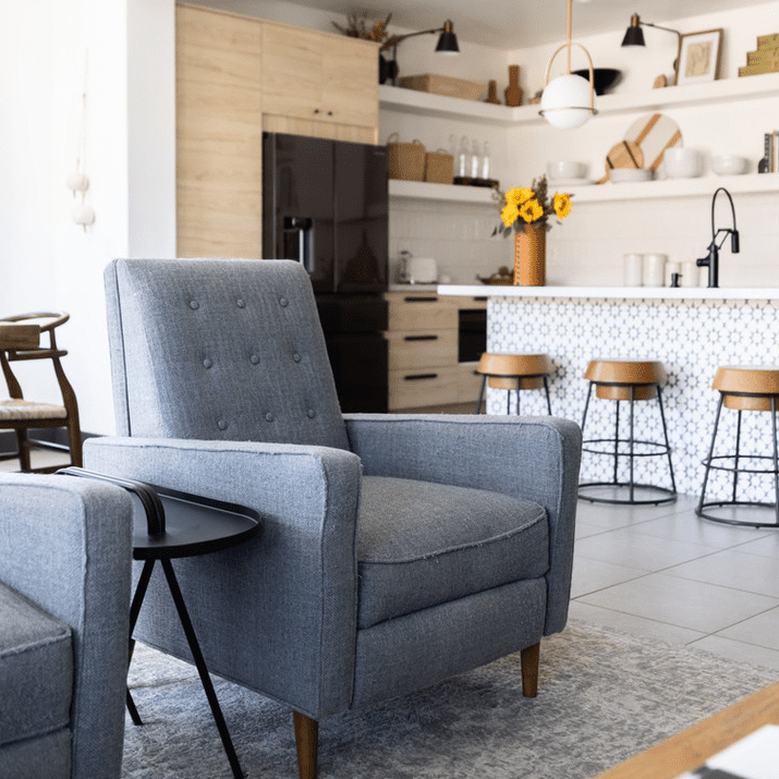 Gray armchair in living room.