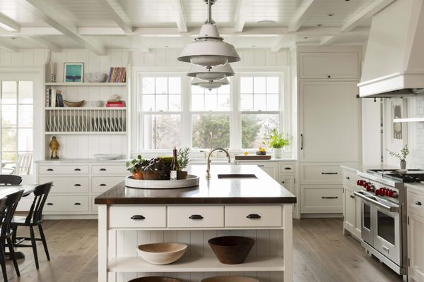 kitchen with exposed ceiling beams