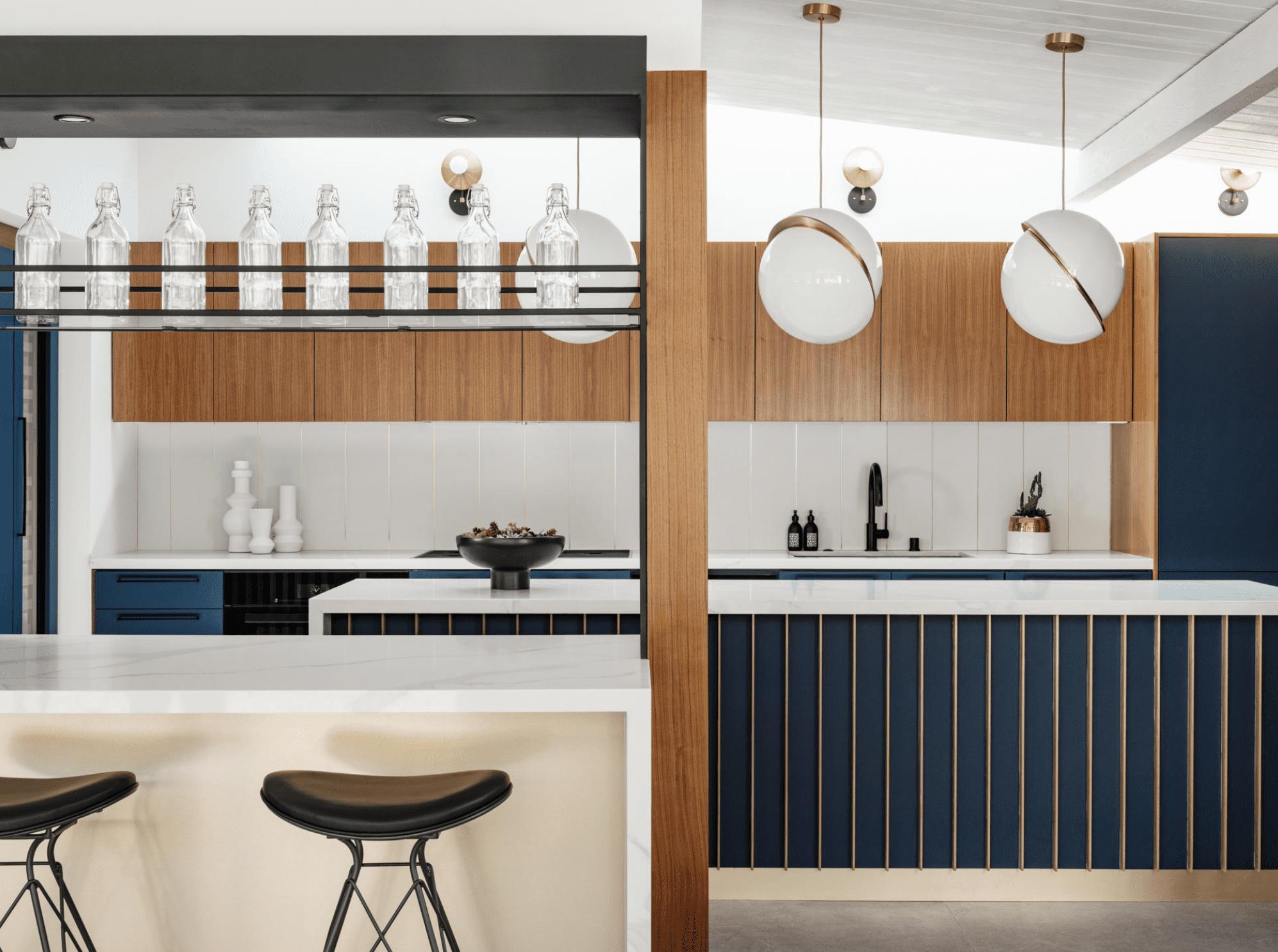 A sleek kitchen bar that looks like it belongs in a restaurant