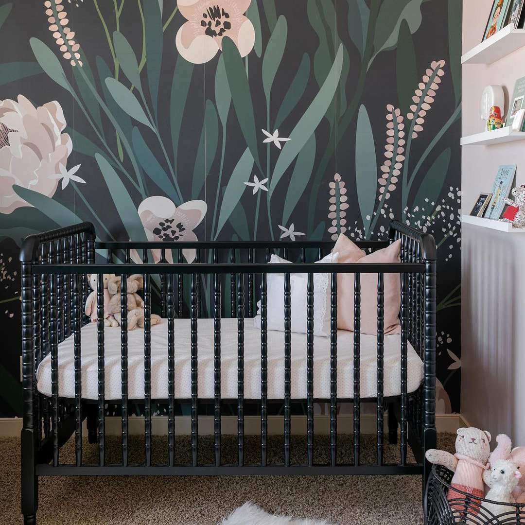 Black, pink, and green nursery