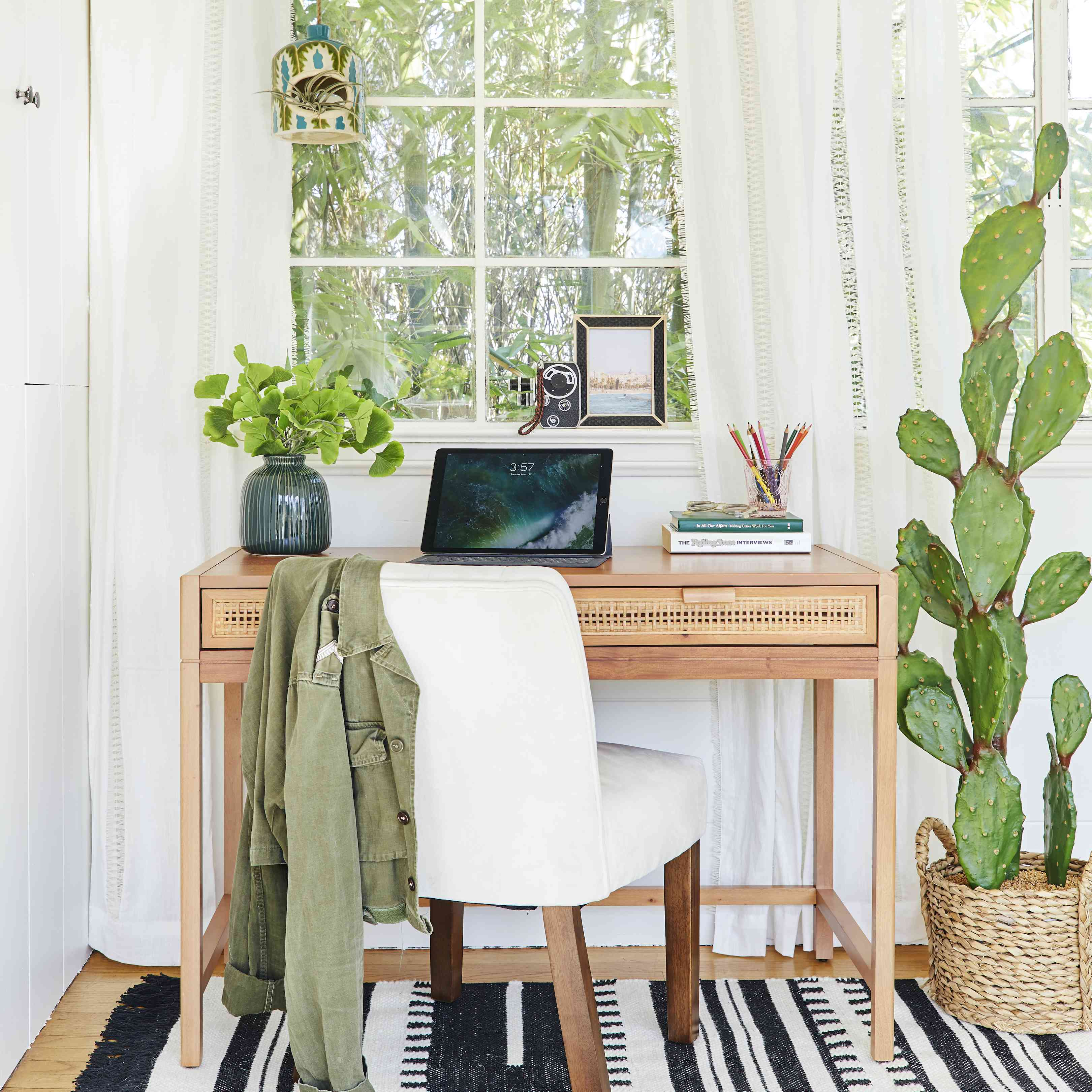 Apartment office nook with open tablet