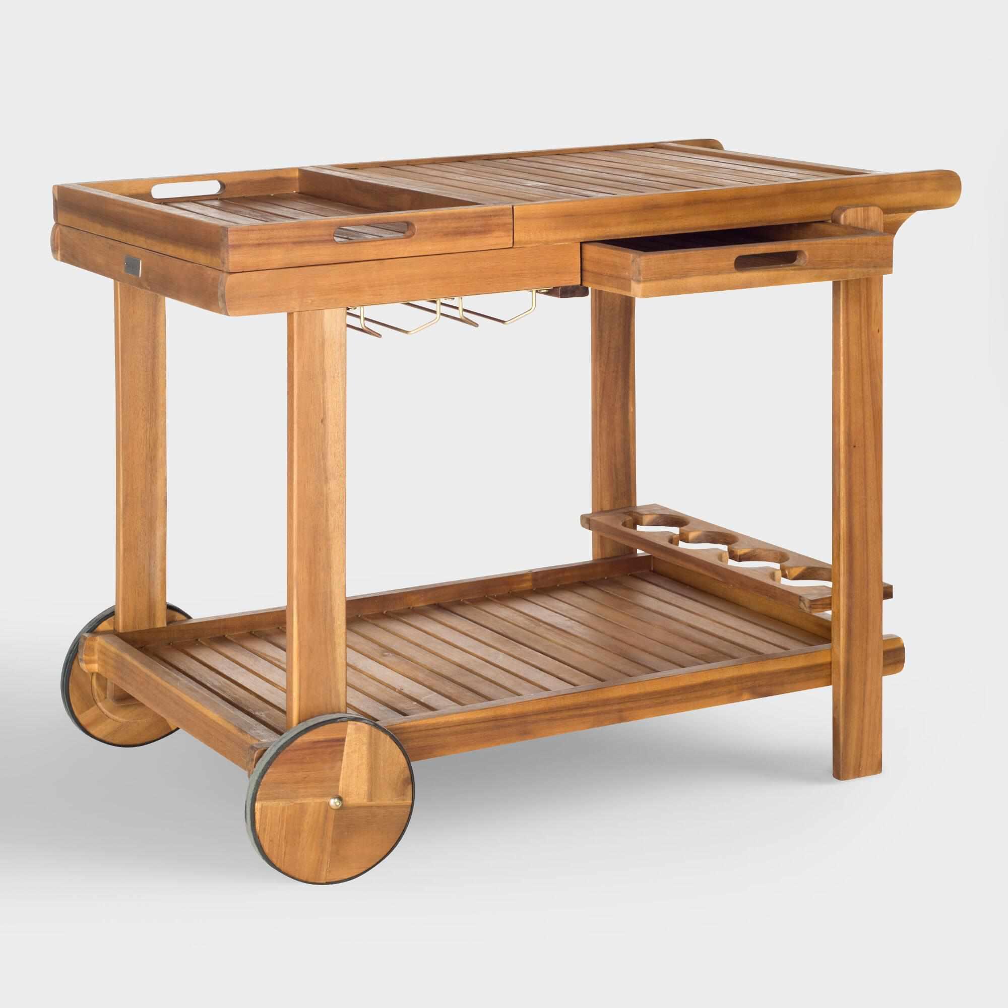 wooden outdoor bar cart