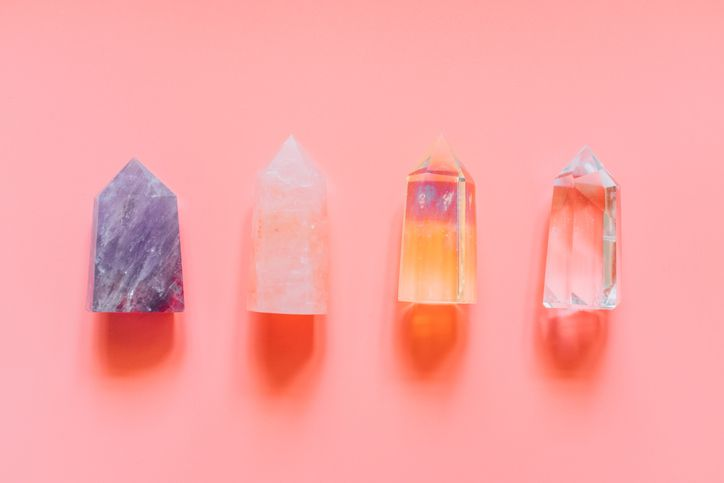 crystal on pink background
