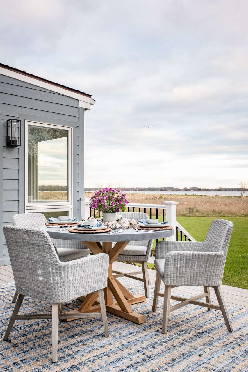 Liz Mearns home tour - deck with seating area