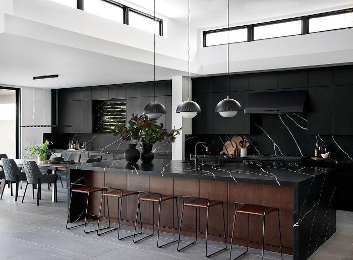 Black kitchen interior design