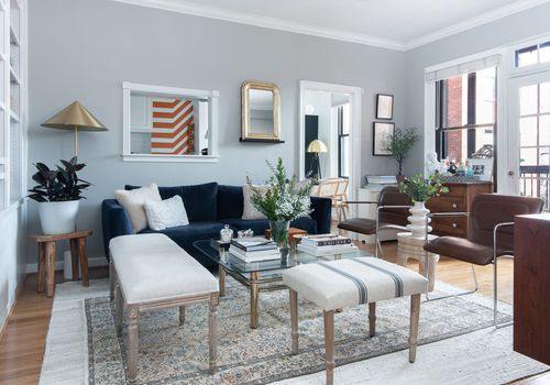 Living room with brass coffee table.