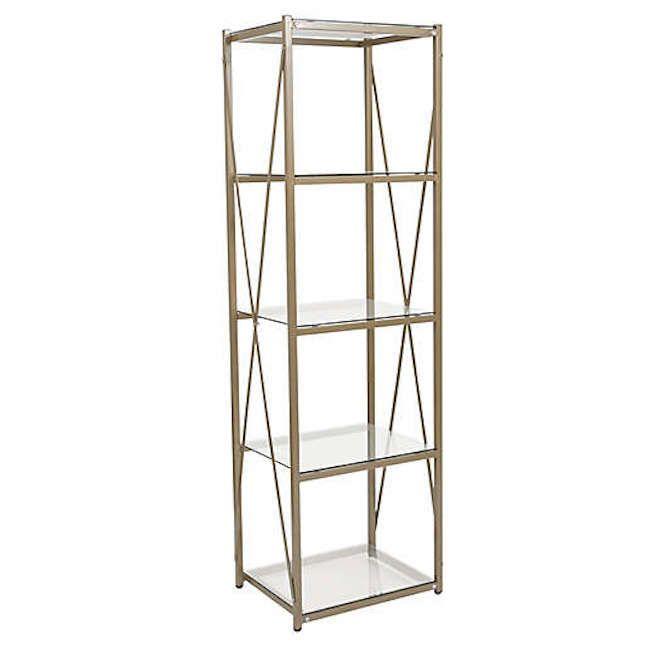 Mar Vista 5-Tier Glass Storage Shelf in Gold