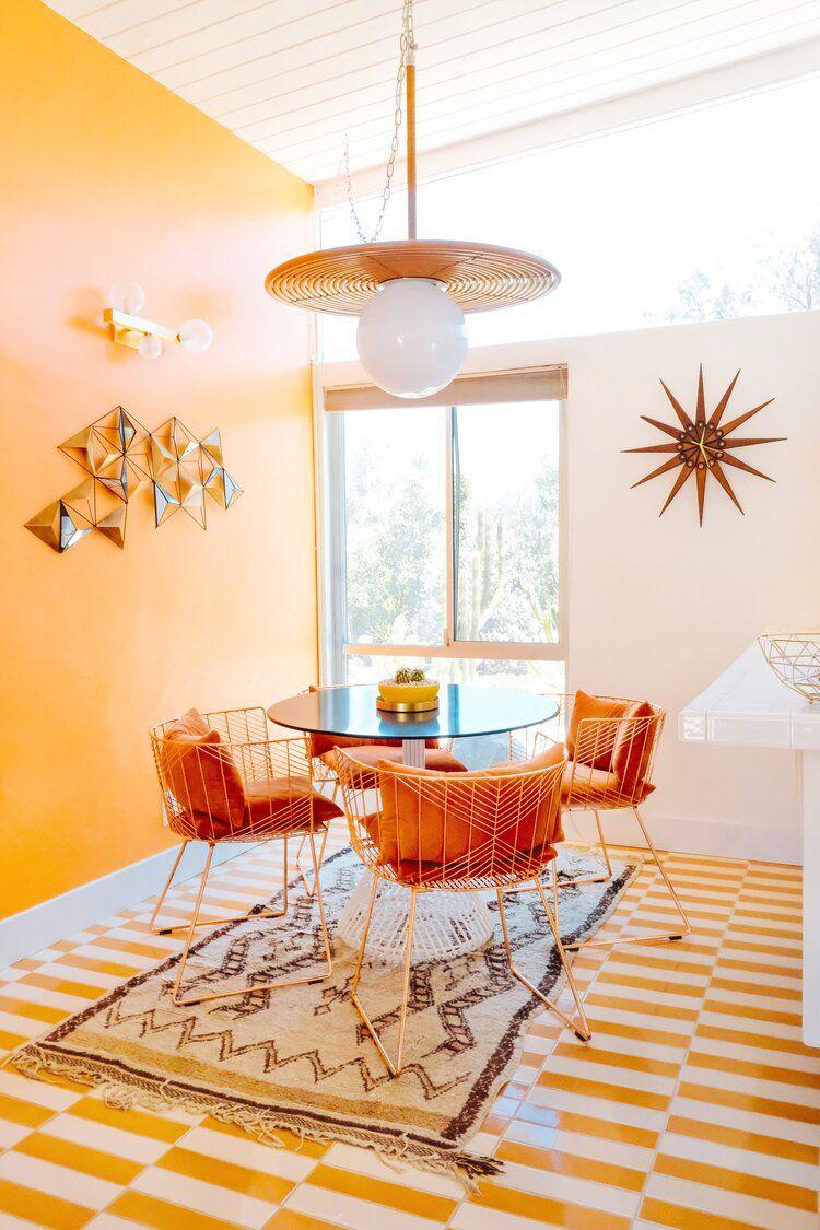 A yellow breakfast nook
