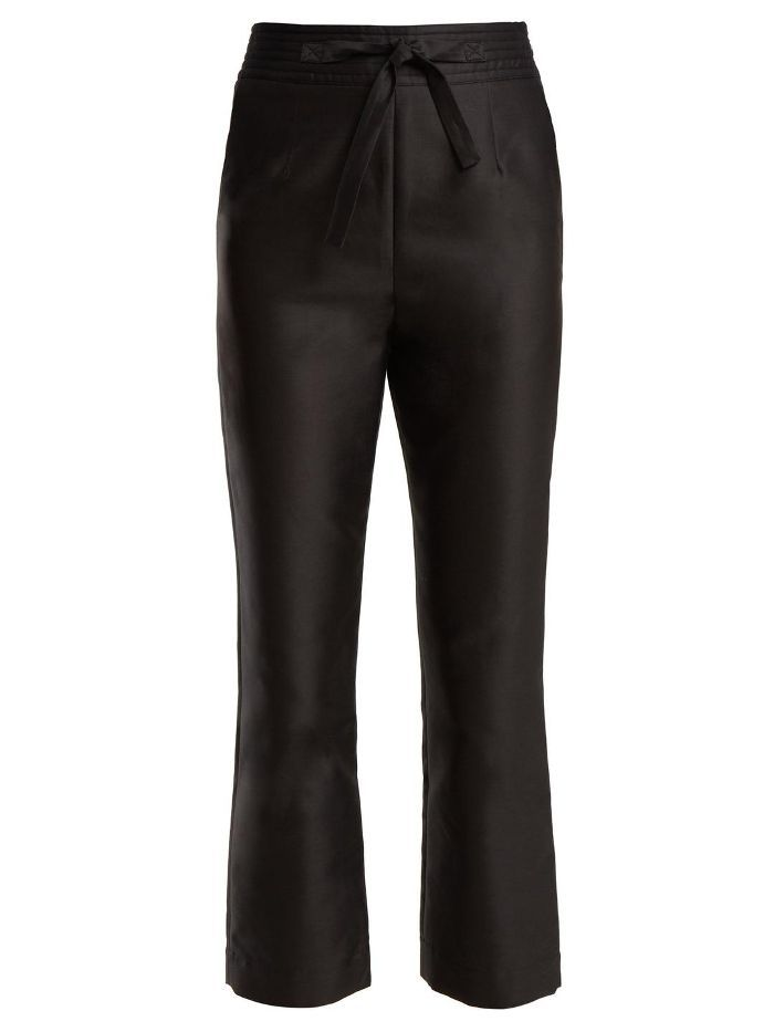 Tie-Waist Straight-Leg Satin Cropped Trousers