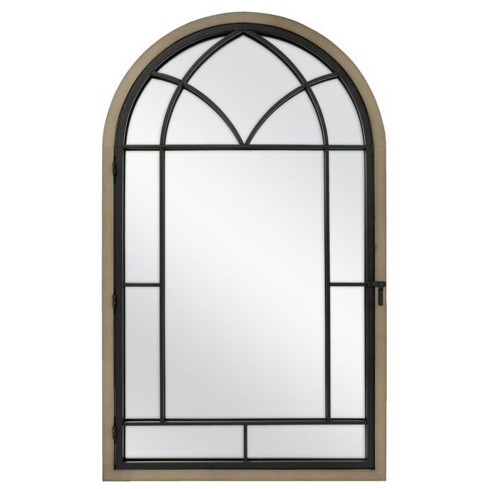 Bee & Willow Home Arched Window Pane Mirror in Rustic Brown