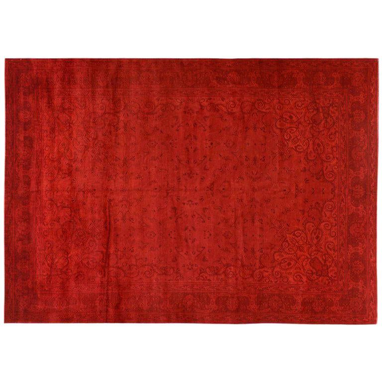 Red Silky Wool Overdyed Rug
