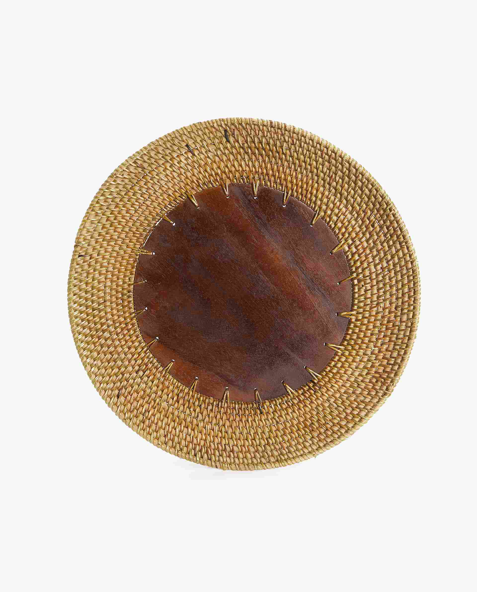 Wood and Rattan Charger Placemat