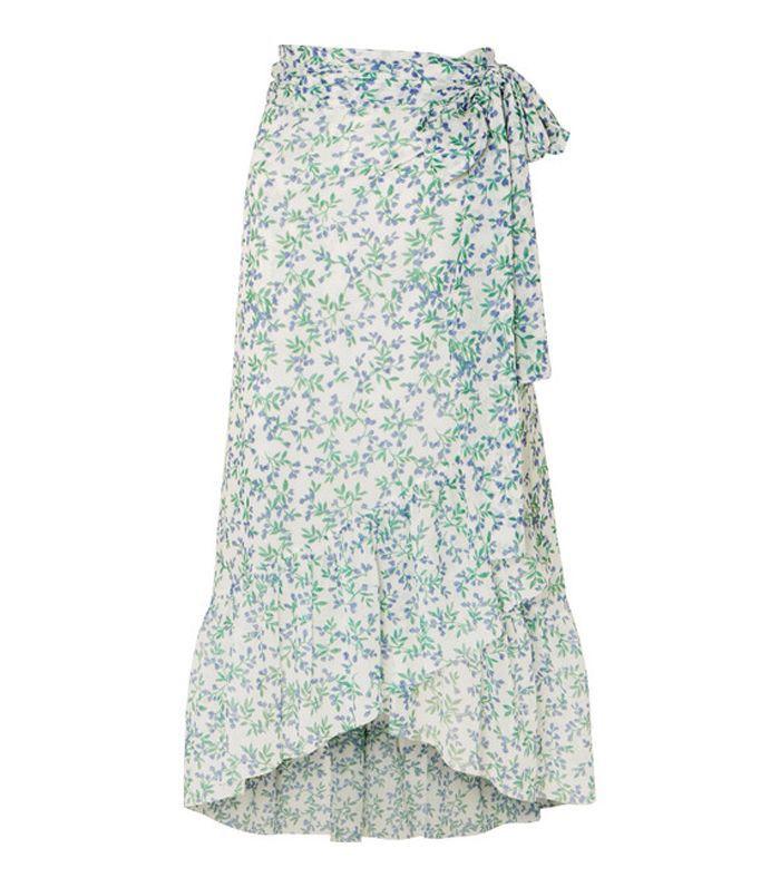 Falda cruzada de malla con estampado floral de Tilden