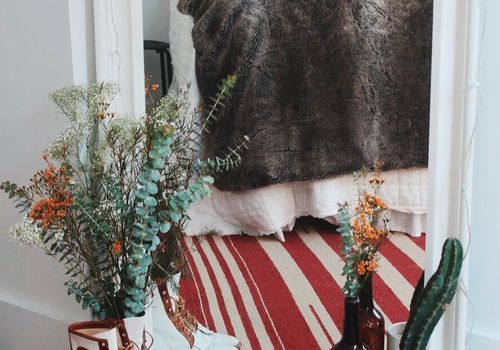 bedroom with southwestern details and plants