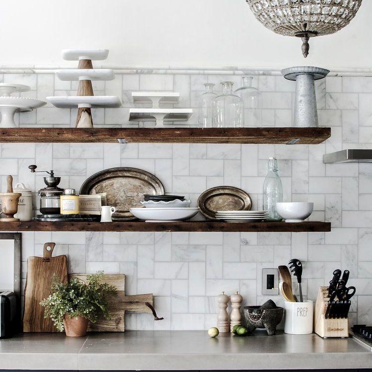 open shelving kitchen organization