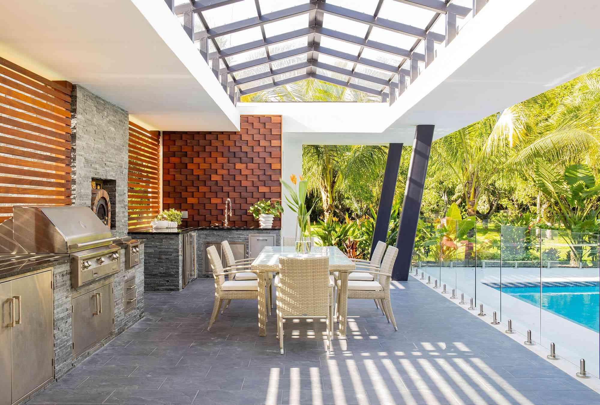 Maite Granda outdoor backyard with pool.