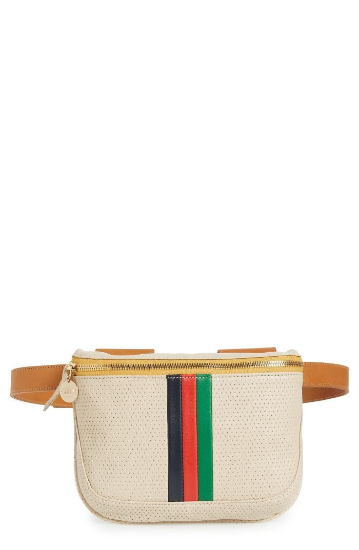 Stripe Perforated Leather Fanny Pack - Ivory Daytime Date Ideas