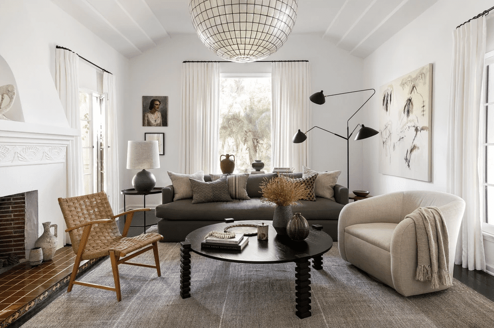 Living room with sculptural lighting.