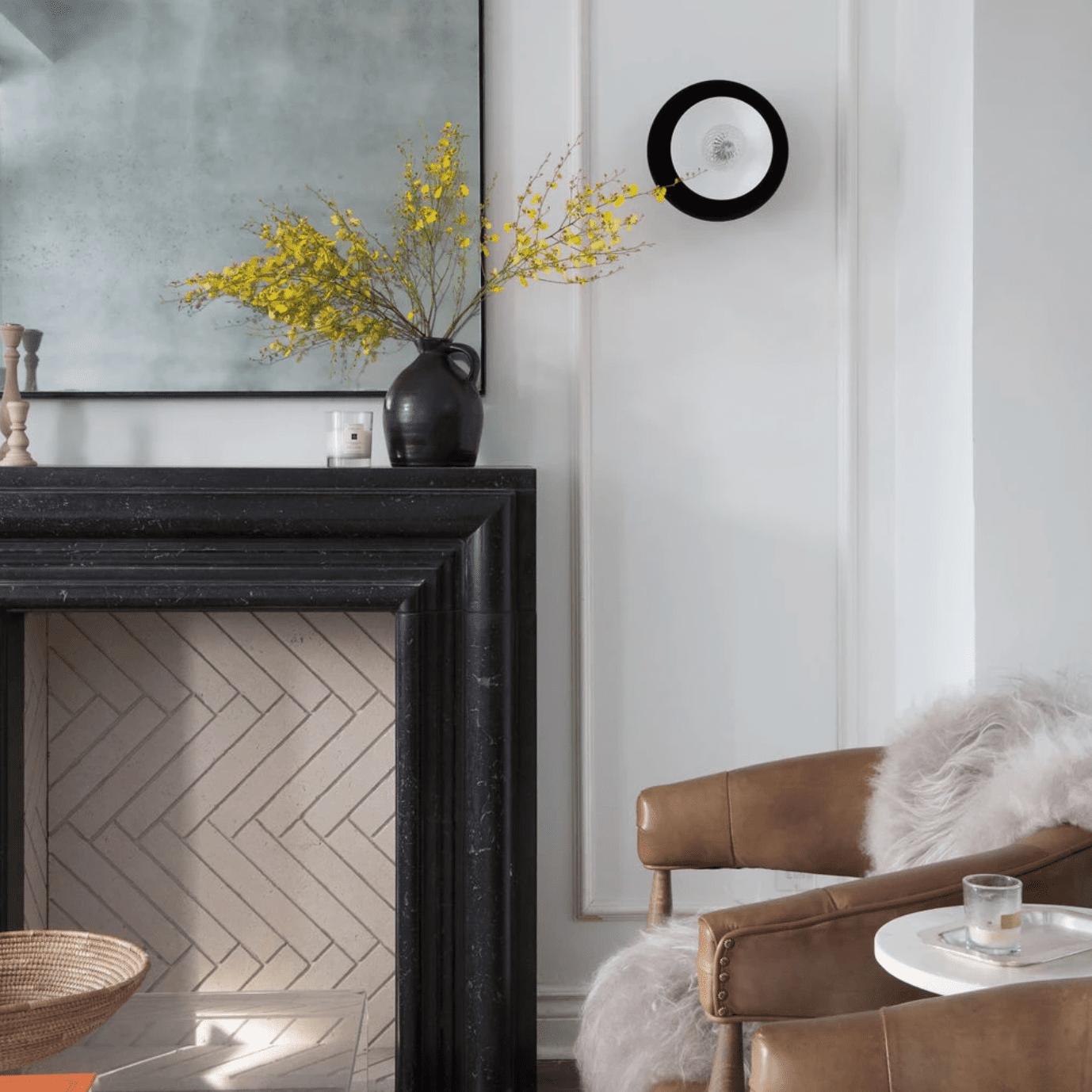 Rustic fireplace mantel.