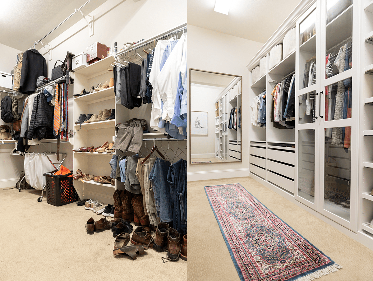 A closet makeover involving a mirror, a printed rug, and custom cabinets