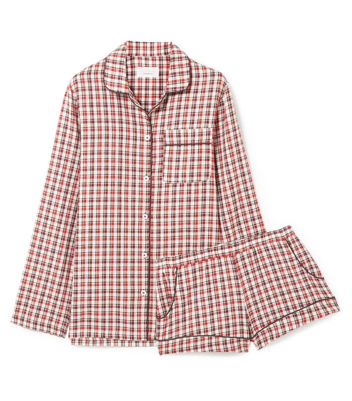 Josephine Checked Cotton-flannel Pajama Set