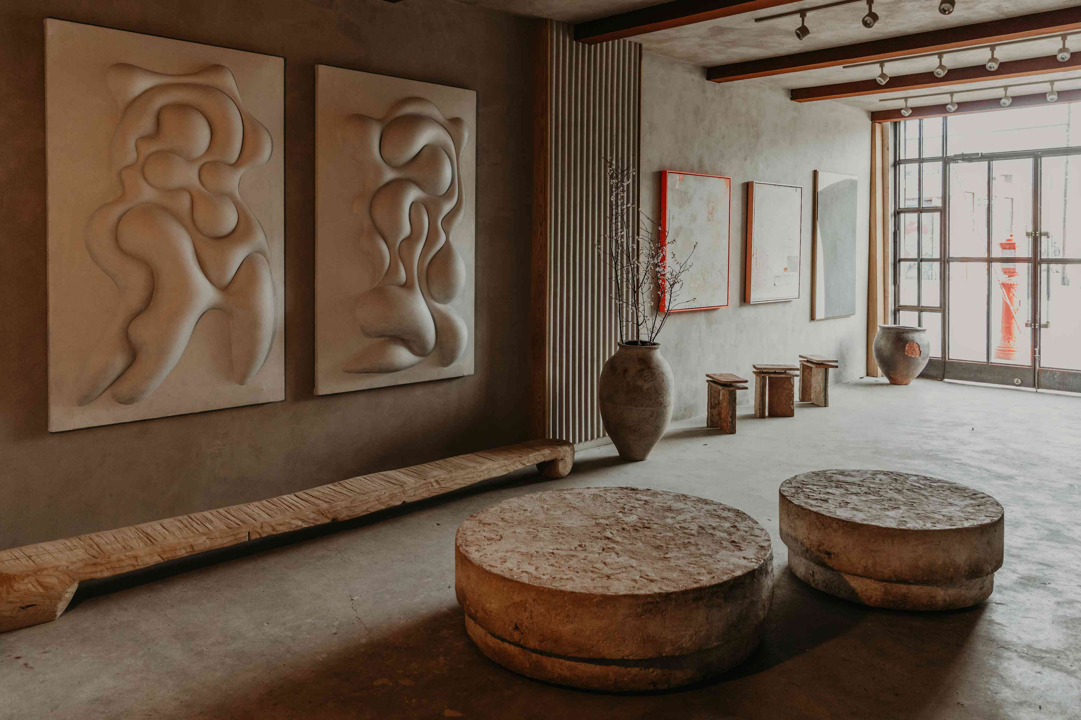 Plaster exhibit art on walls.