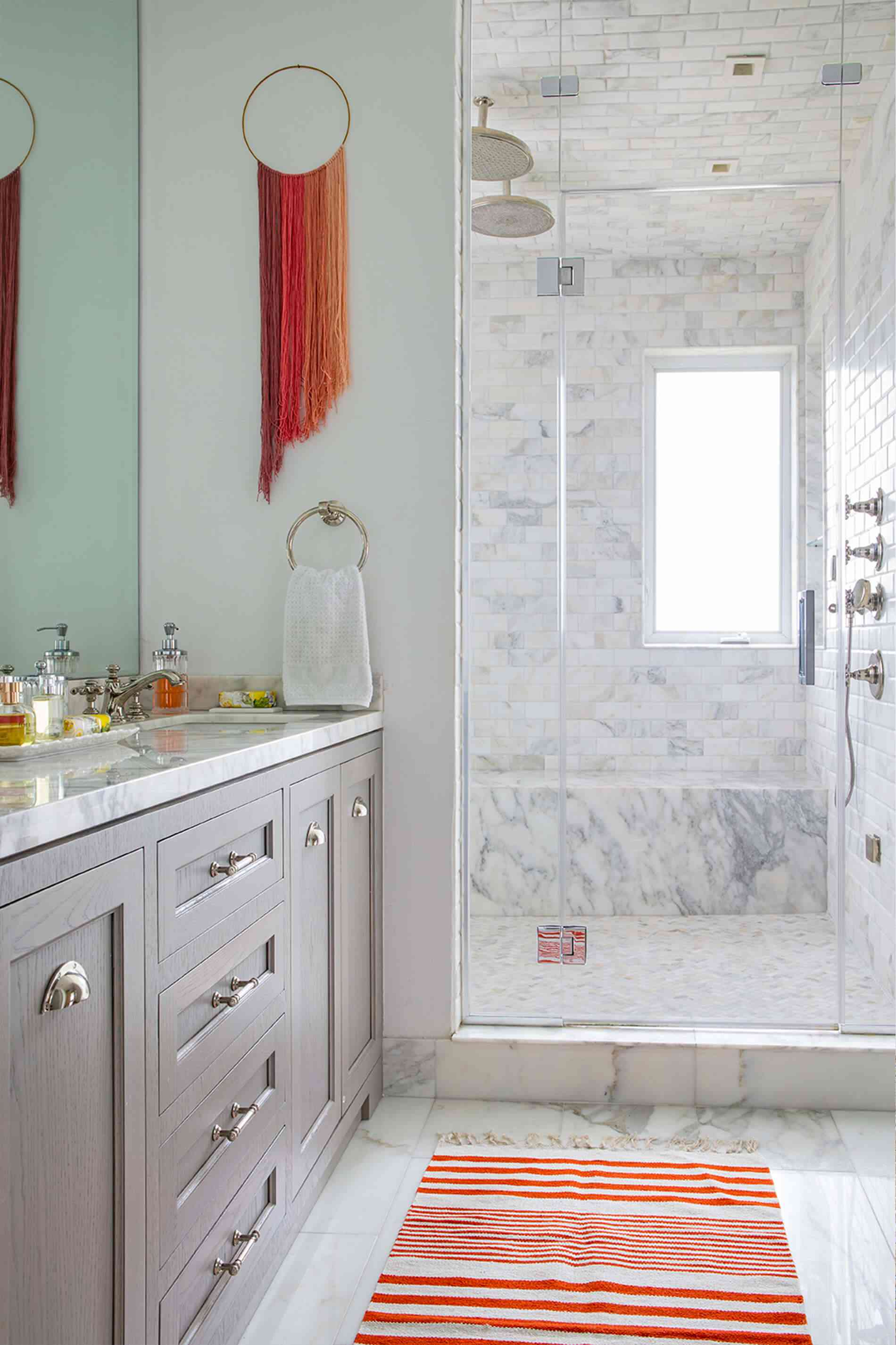 Modern bathroom with red accents