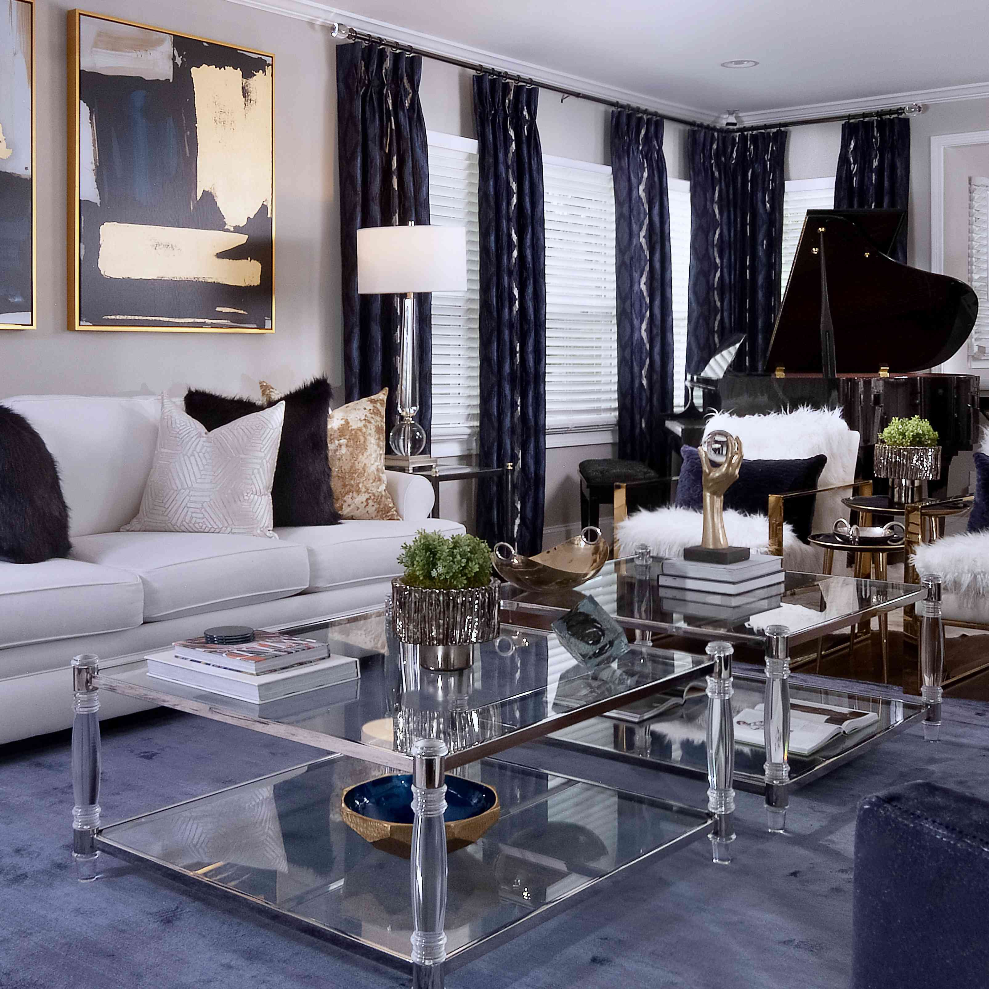 makeover of the week - glam living room with blue carpet, drapes, and piano