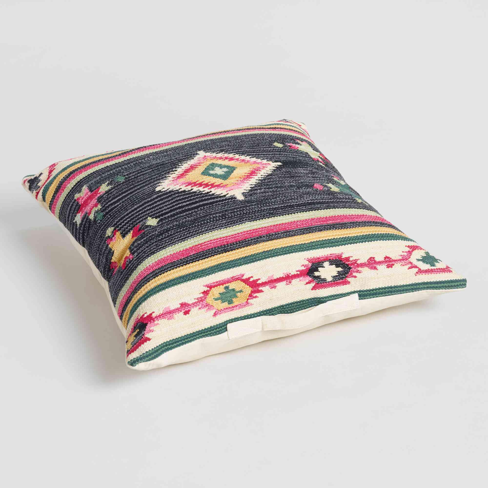 Black Gabbeh Kilim Floor Cushion