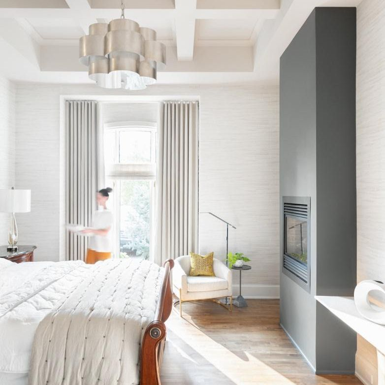 bedroom with a coffered ceiling