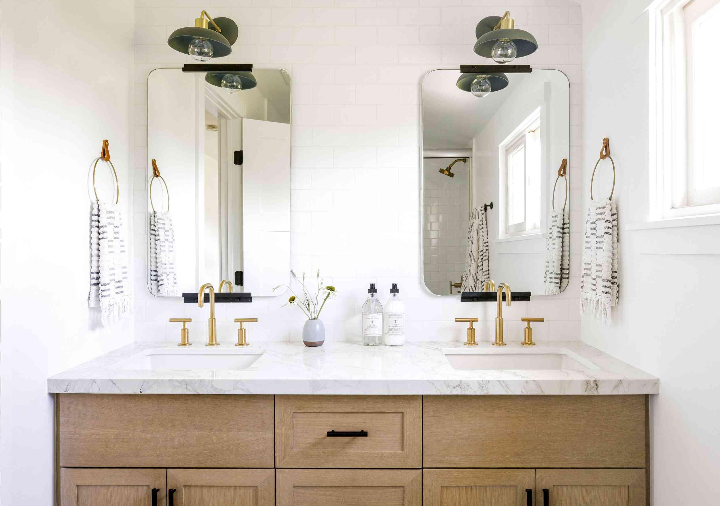 bathroom with brass hardware