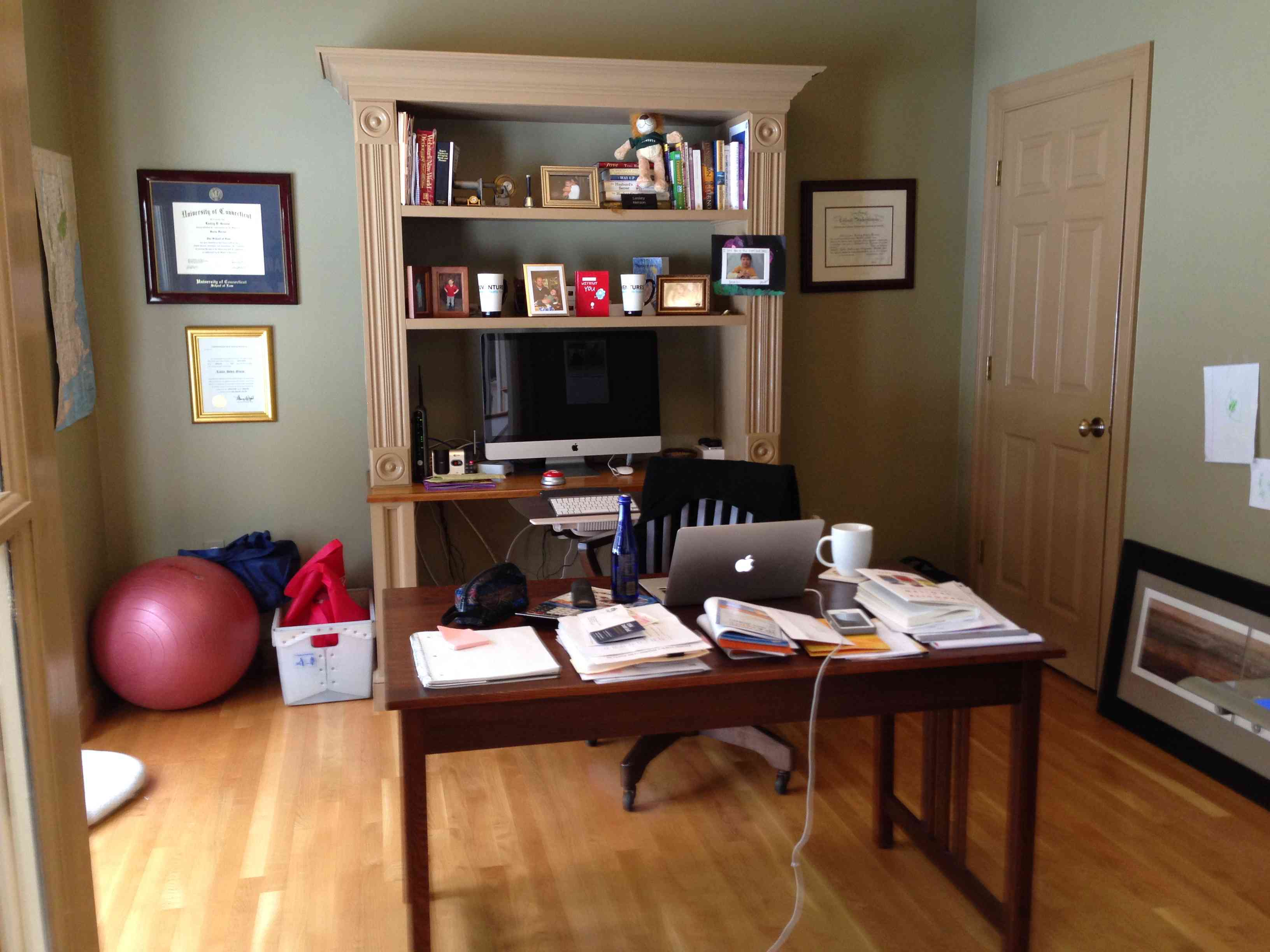 Cluttered home office.