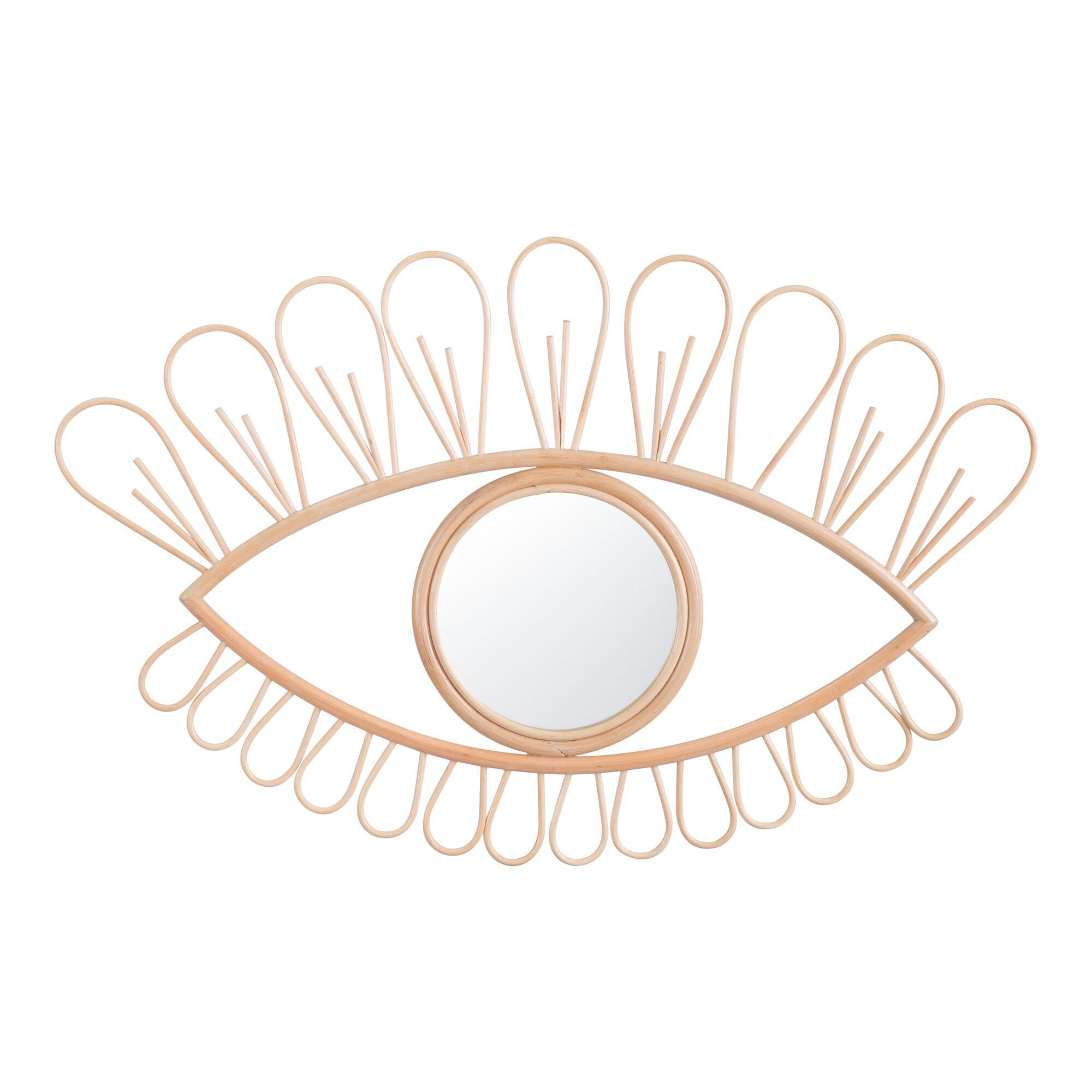 natural rattan eye mirror
