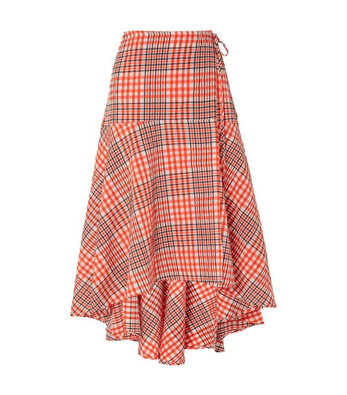 Charron Checked Cotton-blend Seersucker Wrap Skirt