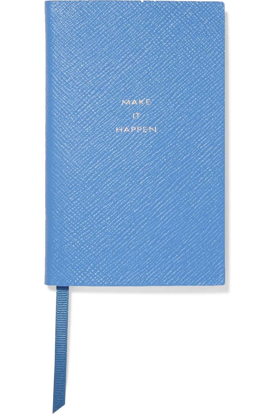 Smythson Panama Make It Happen textured-leather notebook