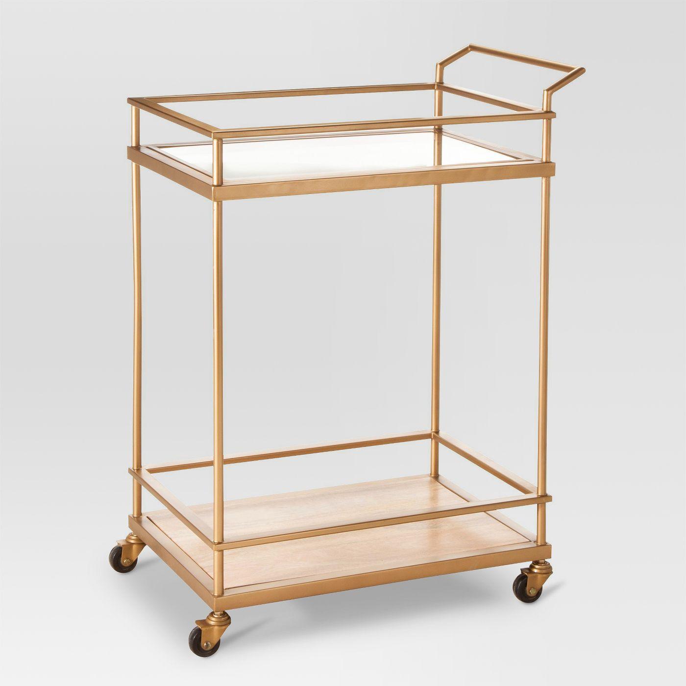 Wood & Glass Gold Finish Bar Cart