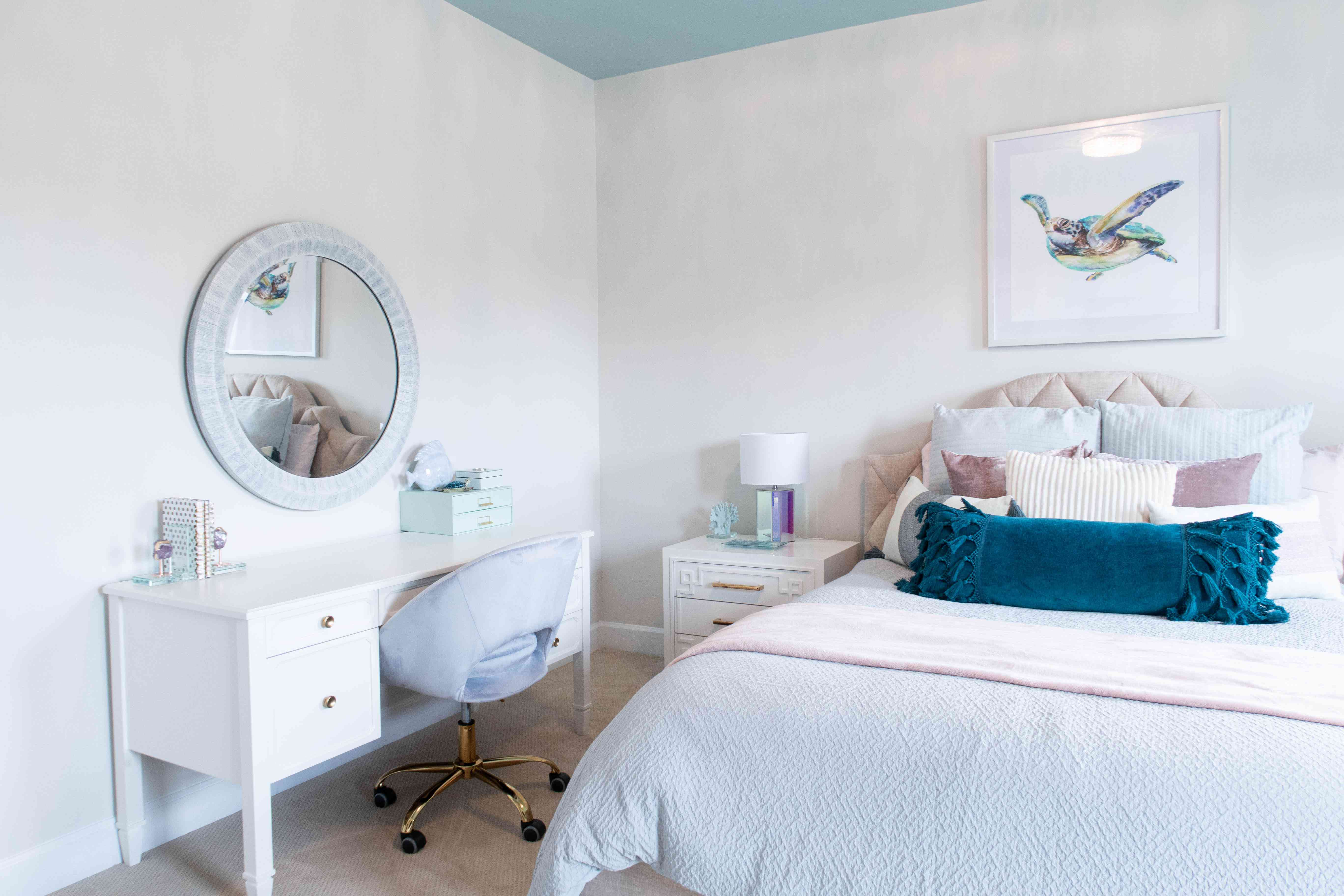 bedroom with office area